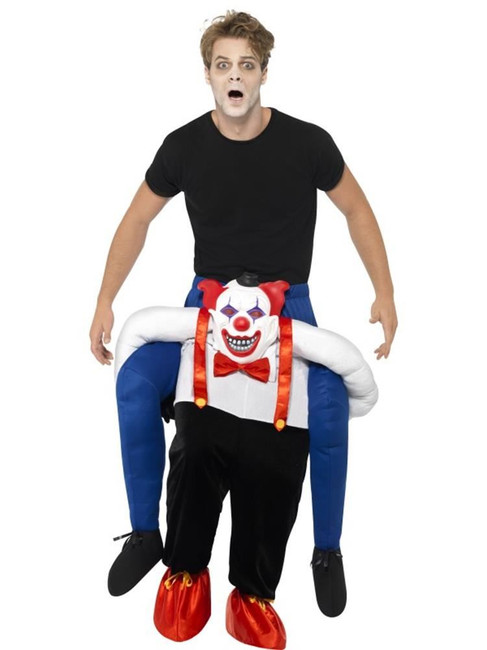 Sinister Clown Piggy Back Costume, Halloween Fancy Dress, BLUE