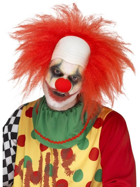 Clown Wig, Deluxe, Adult Fancy Dress Costumes, RED