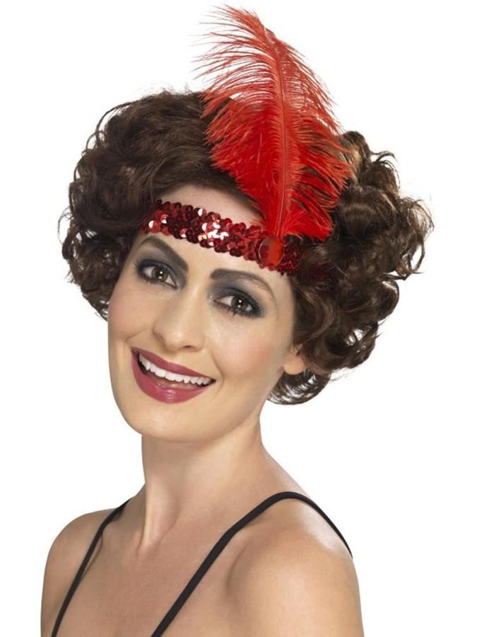 Flapper Headband, 1920s Charlston Fancy Dress, RED
