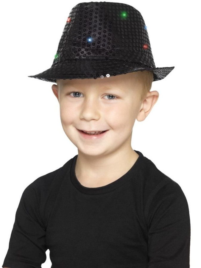 Black Light Up Sequin Trilby Hat, Party & Carnival. One Size
