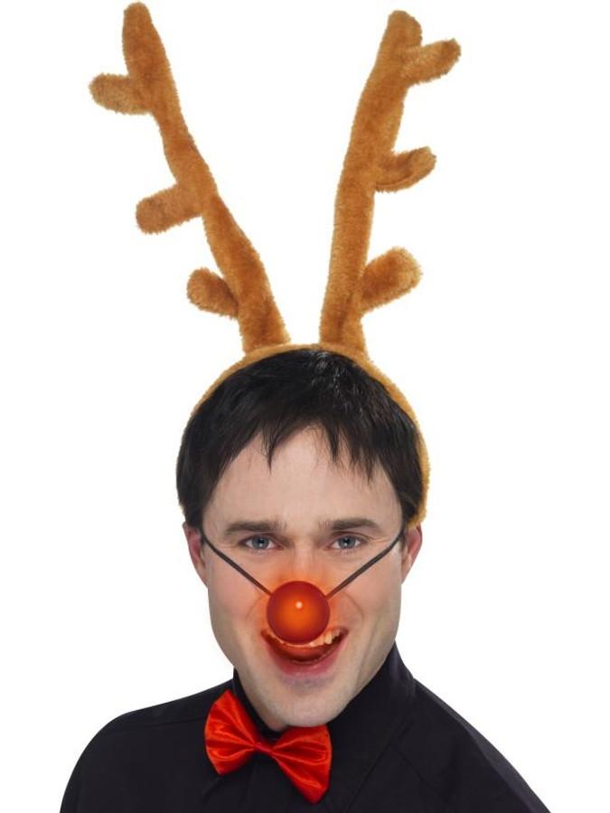 Reindeer Set, Antlers, Nose & Red Bow Tie