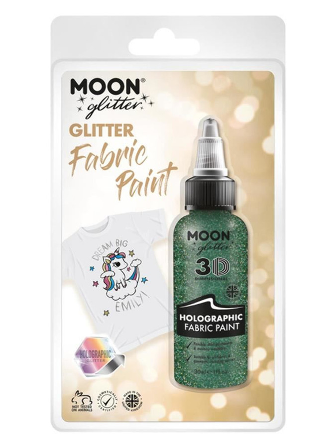 Moon Glitter Holographic Glitter Fabric Paint, Gre.