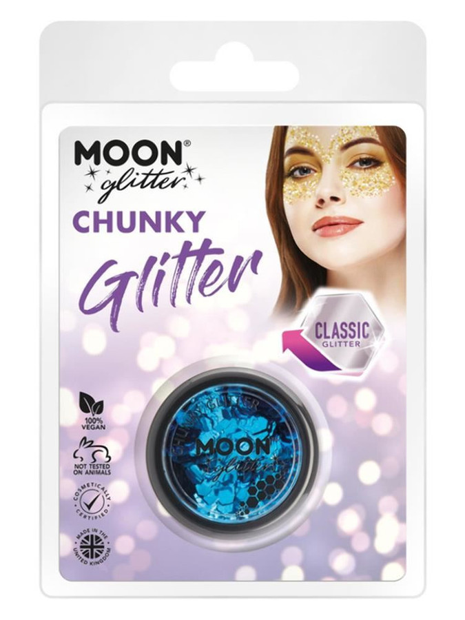Moon Glitter Classic Chunky Glitter, Blue.