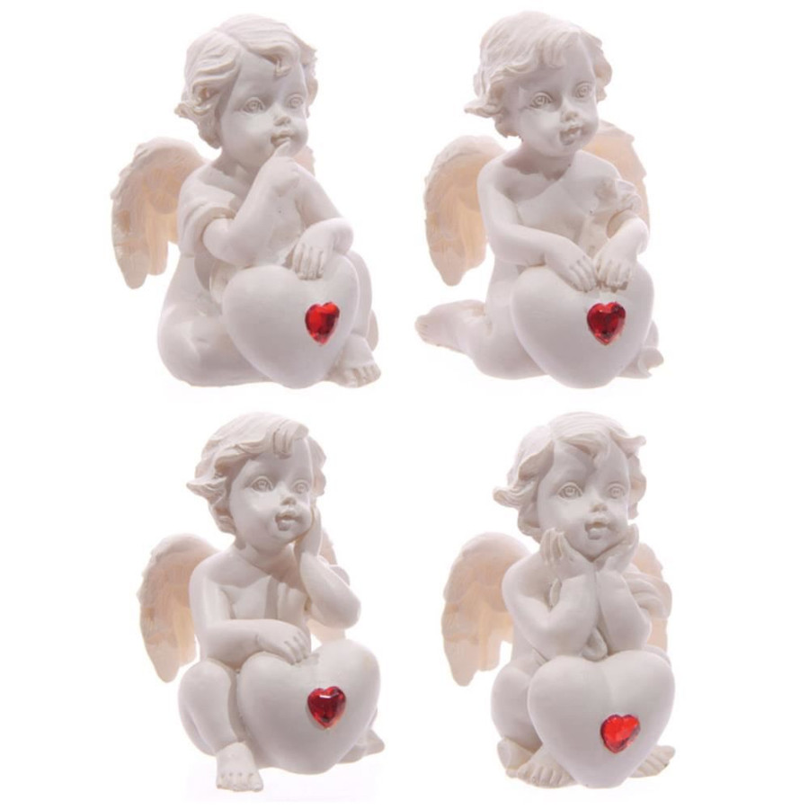 White Cherub Sitting with Red Heart Gem