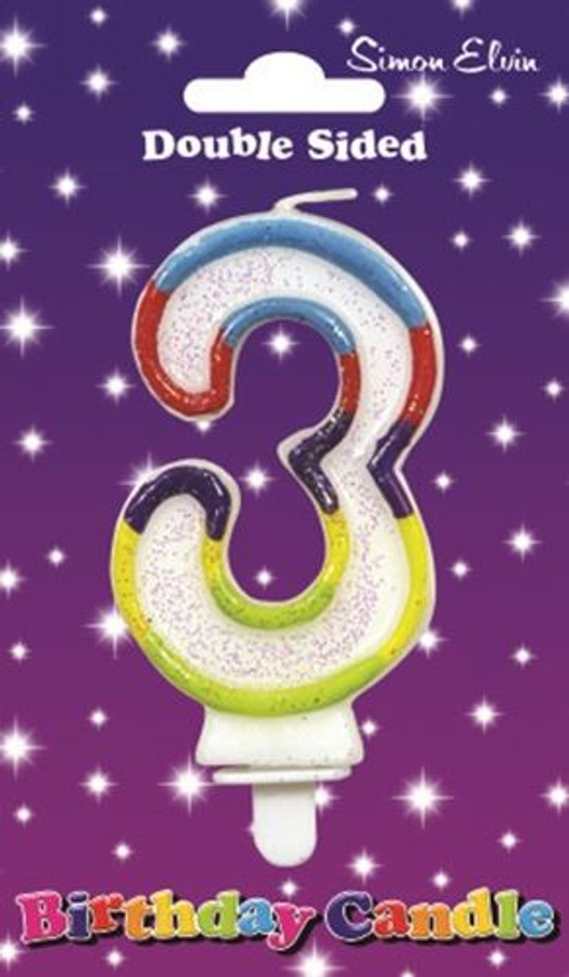 Candle Birthday Number 3 Glittered,
