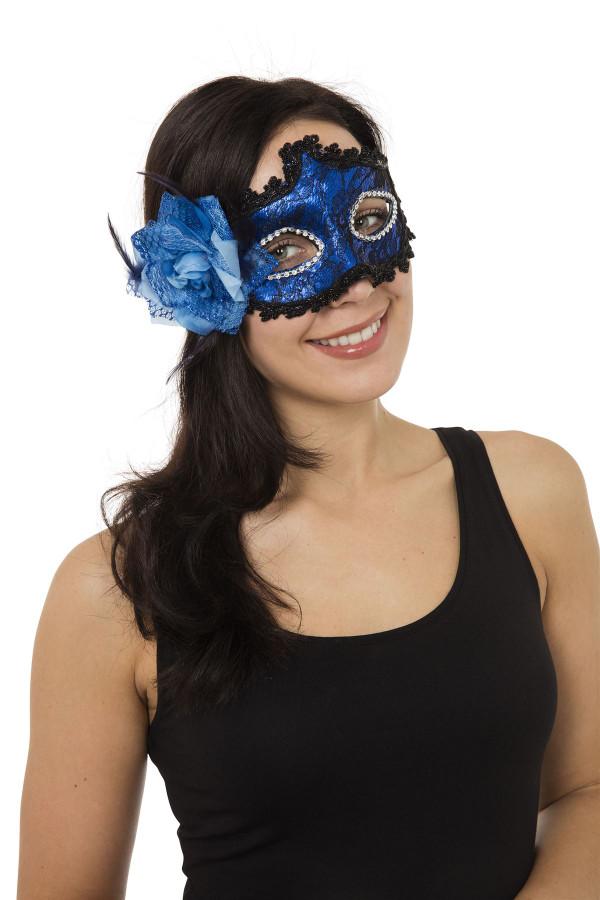 Blue Braided Eyemask with Side Flower