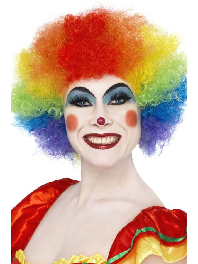 Short Rainbow Afro Wig, Clown Wig, Rainbow Colours. Circus Fancy Dress