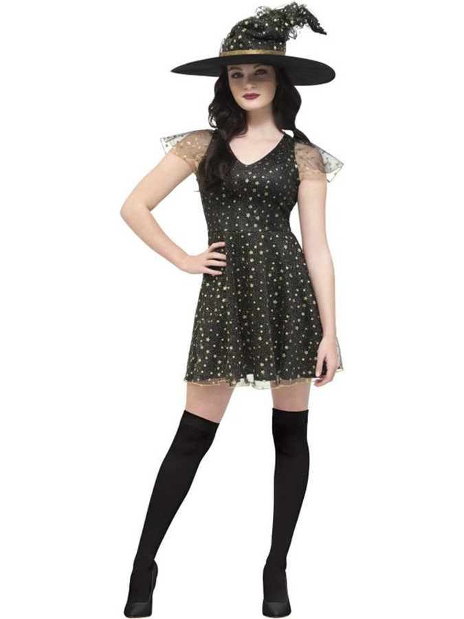 Fever Moon & Stars Witch Costume, Fever Fancy Dress. UK Size 4-6