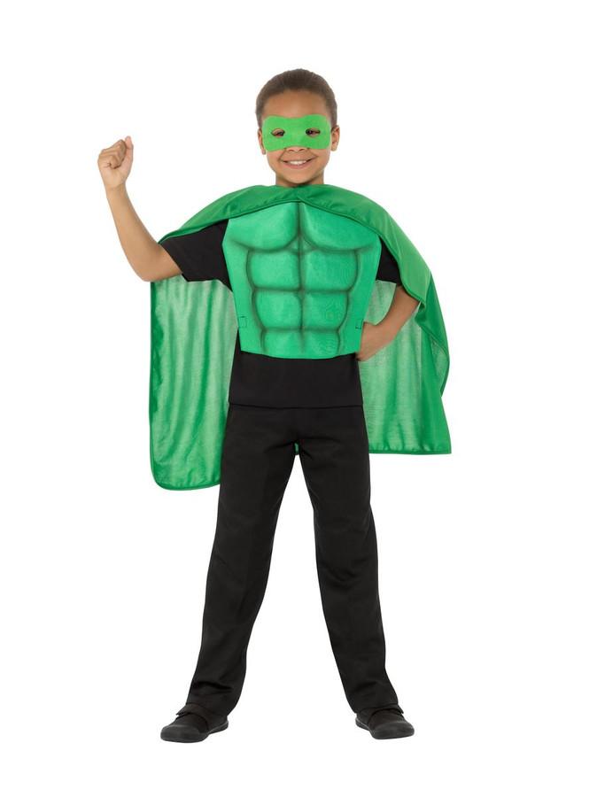 Kids Superhero Kit Green, Eyemask EVA & Cape,Boys Fancy Dress Age 4-7
