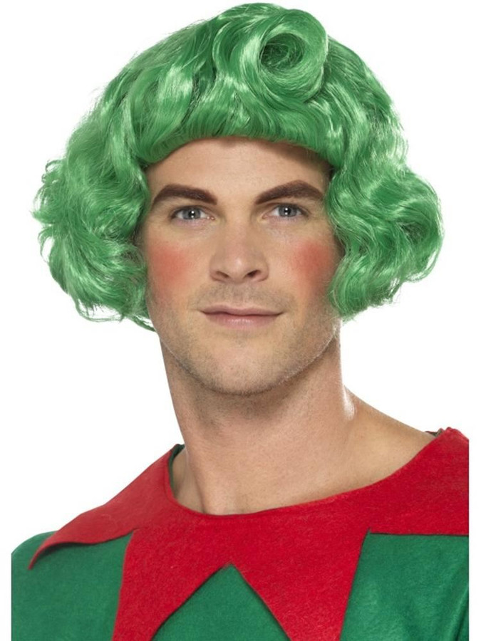 Elf Wig Green, Christmas Fancy Dress Accessories, One Size