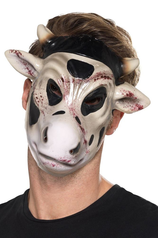 Evil Cow Killer Mask White, Halloween Fancy Dress Accessories, One Size