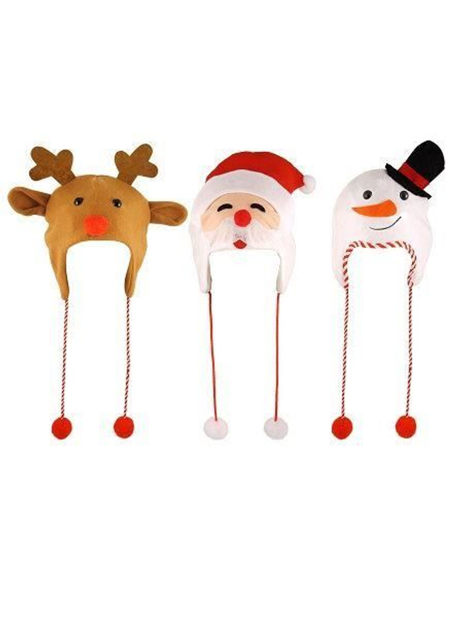 3 x Christmas Novelty Hats, Santa/Snowman/Reindeer, Fun Novelty/Xmas Gift