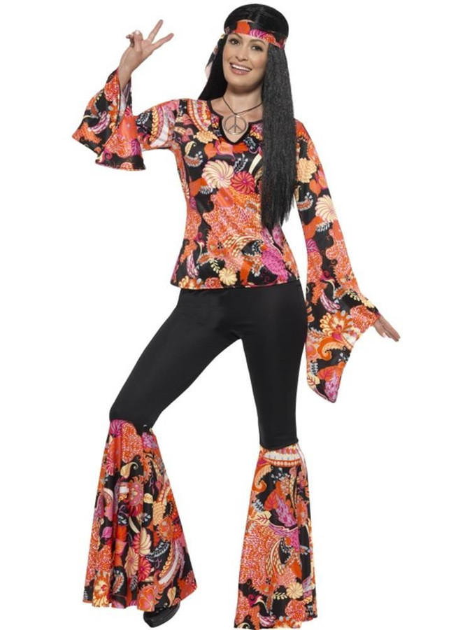Willow the Hippie Costume, Medium,60s Hippy Fancy Dress, Womens, UK 12-14
