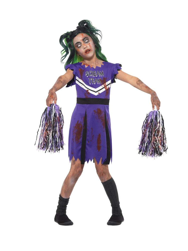 Dark Cheerleader Costume, Halloween Child Fancy Dress, Large Age 10,12