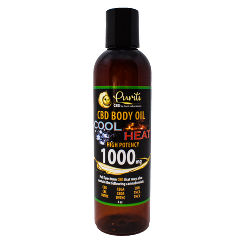 CBD Whole Plant Cannabinoid Extract, Cool Heat Body Oil, 1,000mg 4 oz