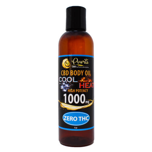 CBD Cool Heat Body Oil, THC Free, 1,000mg 4 oz