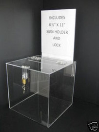 8x8x8 Clear Acrylic Ballot Box Sign Holder and Lock