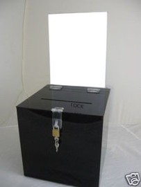6x6x6 Black Ballot Box Sign Holder and Lock