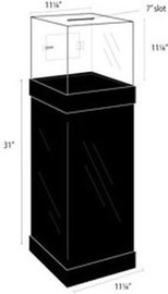 11x11x11 Clear Ballot Box with Black Pedestal Stand