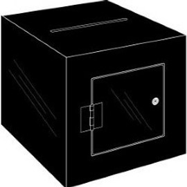 8x8x8 Black Plastic Locking Ballot Box