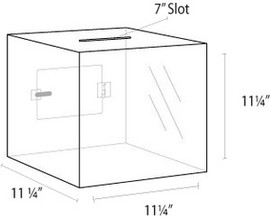 11x11x11 Clear Acrylic Locking Ballot Box
