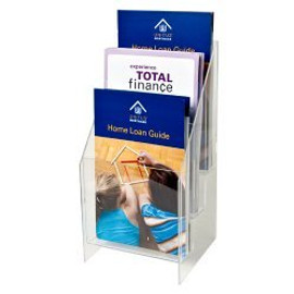5.5 Wide Clear Acrylic 3-Tiered Brochure Holder