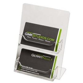 2 Pocket Clear Business Card Holder Easel     DS-LHSC-2H