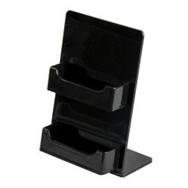 2 Pocket Black Business Card Holder Easel