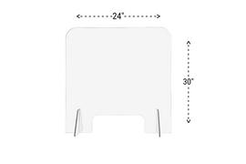 24x30 Sneeze Guard Acrylic Plastic Shield Diagram