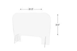 31.5x23.5 Sneeze Guard Acrylic Plastic Shield Diagram