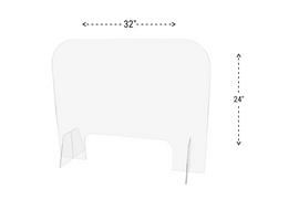 32x24 Sneeze Guard Acrylic Plastic Shield Diagram