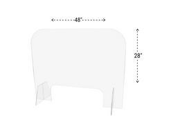 48x28 Sneeze Guard Acrylic Plastic Shield Diagram