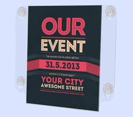 8.5x11 Acrylic Window Sign Holder with Suction Cups