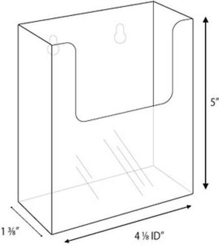 4x9 Clear Acrylic Wall-Mount Brochure Holder Diagram