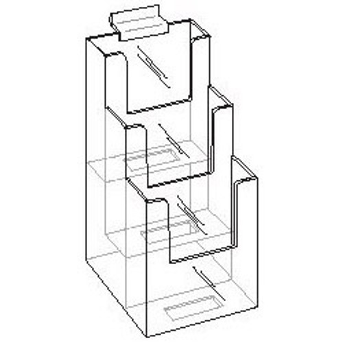 4x9 Three Tier Slat wall Brochure Holder Diagram