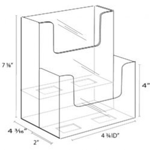 4x9 Brochure Holder Two Tiers Extra Wide Pockets Diagram