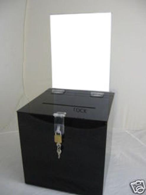 6x6x6 Black Ballot Box Sign Holder and Lock