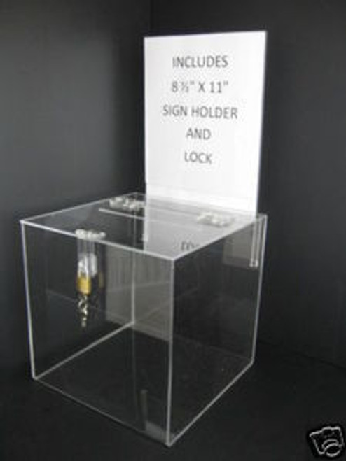 12x12 Clear Acrylic Ballot Box Sign Holder and Lock