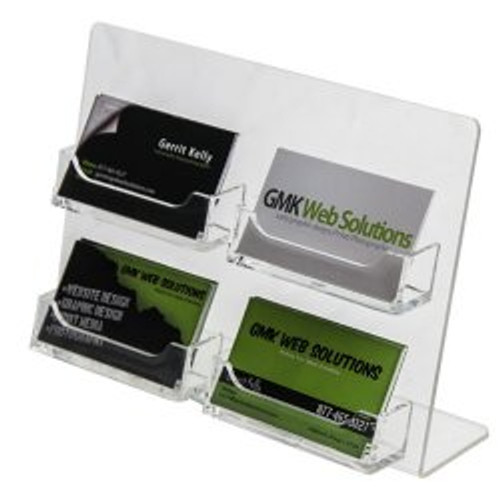 4 Pocket Clear Business Card Holder Easel DS-LHSC-2W2H