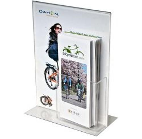 8.5x11 Bottom Load Sign Holder with Brochure Pocket