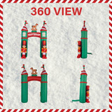 Fraser Hill Farm 10-Ft Tall Santas Toy Shop Archway with Toy Soldiers and Rocking Horse, Blow Up Inflatable with Lights and Storage Bag