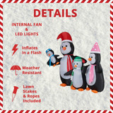Fraser Hill Farm 10-Ft Tall Penguin Family, Blow Up Inflatable with Lights and Storage Bag