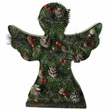Fraser Hill Farm 15-In Tall Angel-Shaped Metal Frame with Pinecones and Berries, Festive Indoor Christmas Decoration