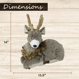 Fraser Hill Farm 2-Piece Deer Set with Leaf Collars, 23-In and 14-In, Festive Indoor Seasonal Decoration