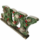 Fraser Hill Farm 20-In Wide JOY-Shaped Metal Frame with Pinecones and Berries, Festive Indoor Christmas Decoration