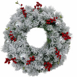 Fraser Hill Farm Tartan Christmas 5-Piece Decorating Kit Frosted Wreath, Lightly Frosted Tree, Pre-Lit Lantern, Sleigh, and Gift Box