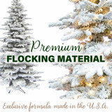 Fraser Hill Farm Flocked Mountain Pine Christmas Tree, Various Lighting and Size Options