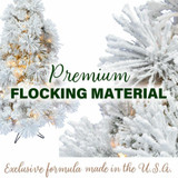 Fraser Hill Farm Snowy Pine Flocked Slim Christmas Tree, Various Lighting and Size Options