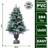 Fraser Hill Farm 4.5-Ft Frosted Porch Accent Tree with Pinecone Accents in Decorative Pot, Various Lighting Options