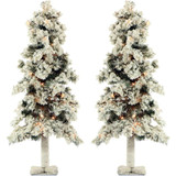 Fraser Hill Farm Set of 2, Snowy Alpine Trees with Clear LED Lighting, Various Size Options